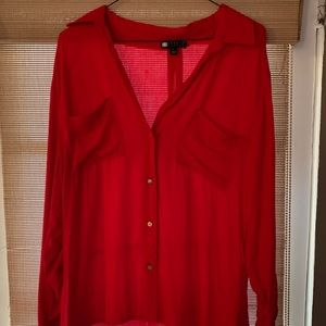 Carole little red button down flowy red shirt